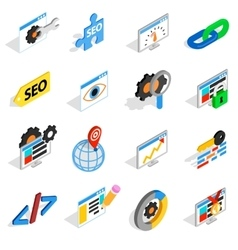 SEO icons set isometric 3d style vector