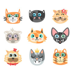 Set of funny cartoon cats heads cats different vector