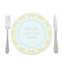 Silver fork knife and plate vector