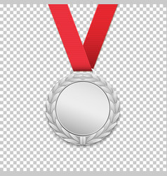 silver medal realistic icon vector image
