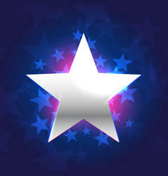 silver star in blue background vector image