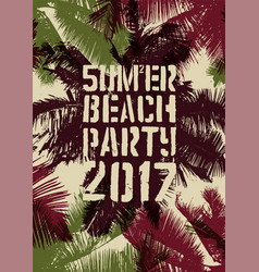 summer beach party typographic vintage poster vector image