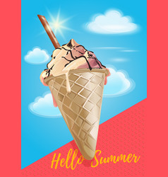 Summer poster with ice cream in sky vector