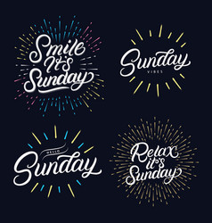sunday set hand written lettering quotes vector image