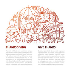 thanksgiving day line template vector image