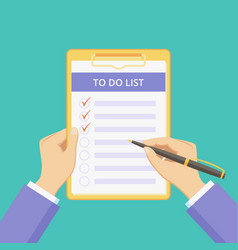 todo list clipboard with flat hands green graphic vector image
