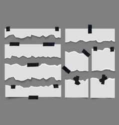 Torn paper notes with adhesive tape ripped strips vector