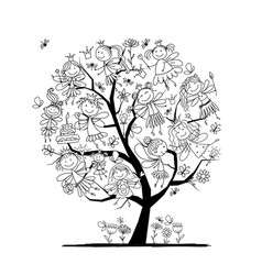 tree with cute little fairies coloring page for vector image