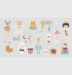 Trendy baby and children stickers vector