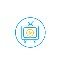 tv with antenna line icon vector image