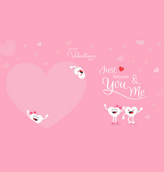 valentines day background with cute heart cartoon vector image