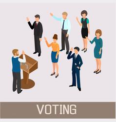 Voting people before the speaker in the tribune vector