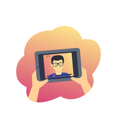 webinar online education tablet with video vector image