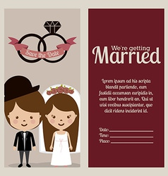 Wedding design over beige background vector