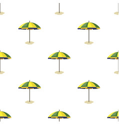 Yelow-green beach umbrella icon in cartoon style vector