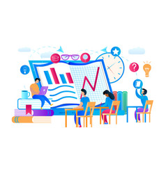 young guys and girls learning internet courses vector image