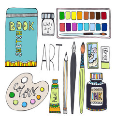 art supplies for drawing cartoon set with paints vector image vector image
