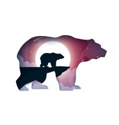 Bear cartoon paper landscape vector