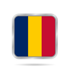 flag of chad shiny metallic gray square button vector image