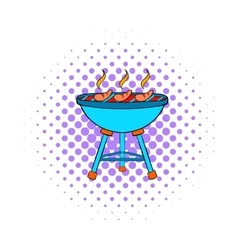 Grill sausages icon comics style vector image