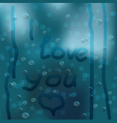 heart hand drawn on window covered with rain drops vector image vector image