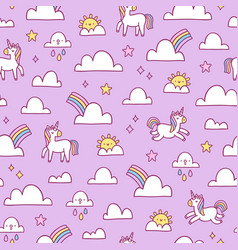 unicorns and rainbows pattern vector image vector image