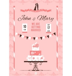 Card with wedding cake vector image