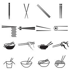 Chopsticks icons vector image