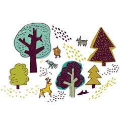 Forest and animals isolate on white nature design vector image