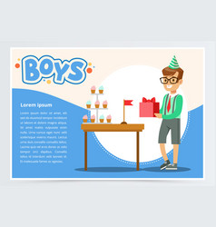 happy boy holding gift box cute kid celebrating vector image vector image