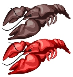Two delicious fried crawfish isolated vector