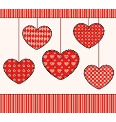 Card with patchwork hearts vector image vector image