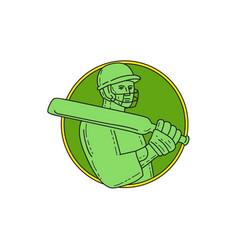 cricket player batsman circle mono line vector image vector image