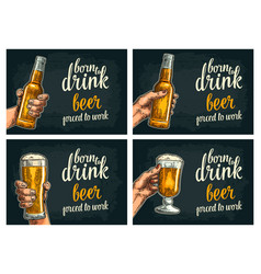 female and male hands holding beer bottles and vector image