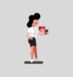 girl order a package via phone vector image