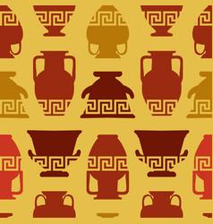 greek vases meander ornament seamless pattern vector image