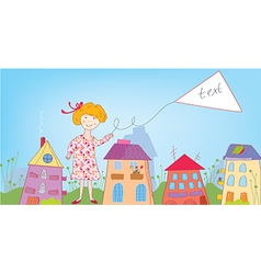 Happy child girl in the town with banner vector image vector image
