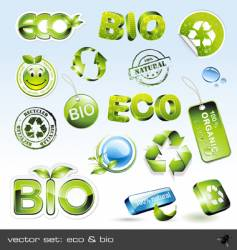 icon set eco and bio vector image vector image