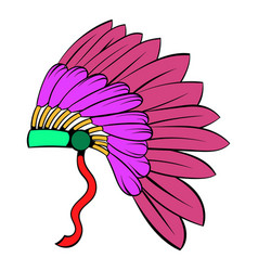 native american feather headdress icon cartoon vector image
