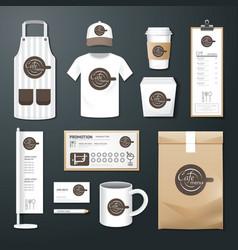 restaurant cafe set flyer menu package uniform vector image vector image