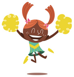 a young smiling cheerleader jumping and cheering vector image vector image