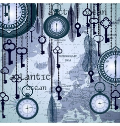 Antique background with map and clocks vector image vector image