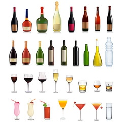 bottles and cocktails vector image vector image