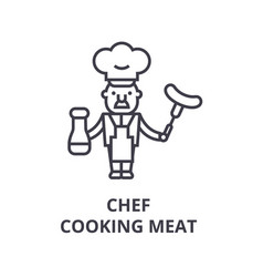 chef cooking line icon outline sign linea vector image
