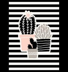 cute cacti poster design vector image