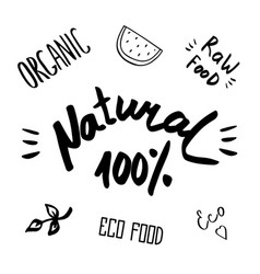 hand drawn healthy food brush lettering vector image