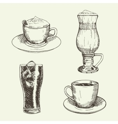 Set of graphic drinks include cup of cappuccino vector