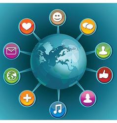 world social media icons vector image