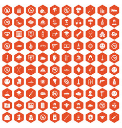 100 tension icons hexagon orange vector image