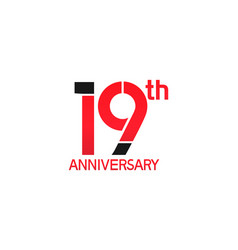 19 years anniversary logotype with black and red vector